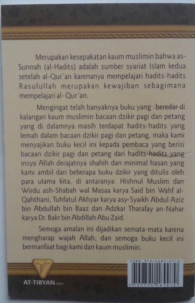 Buku Saku Dzikir Pagi Petang Dan Shalat Fardhu Transliterasi 5.000 15% 4.250 Pustaka At-Tibyan Muhammad Yusran Anshar cover