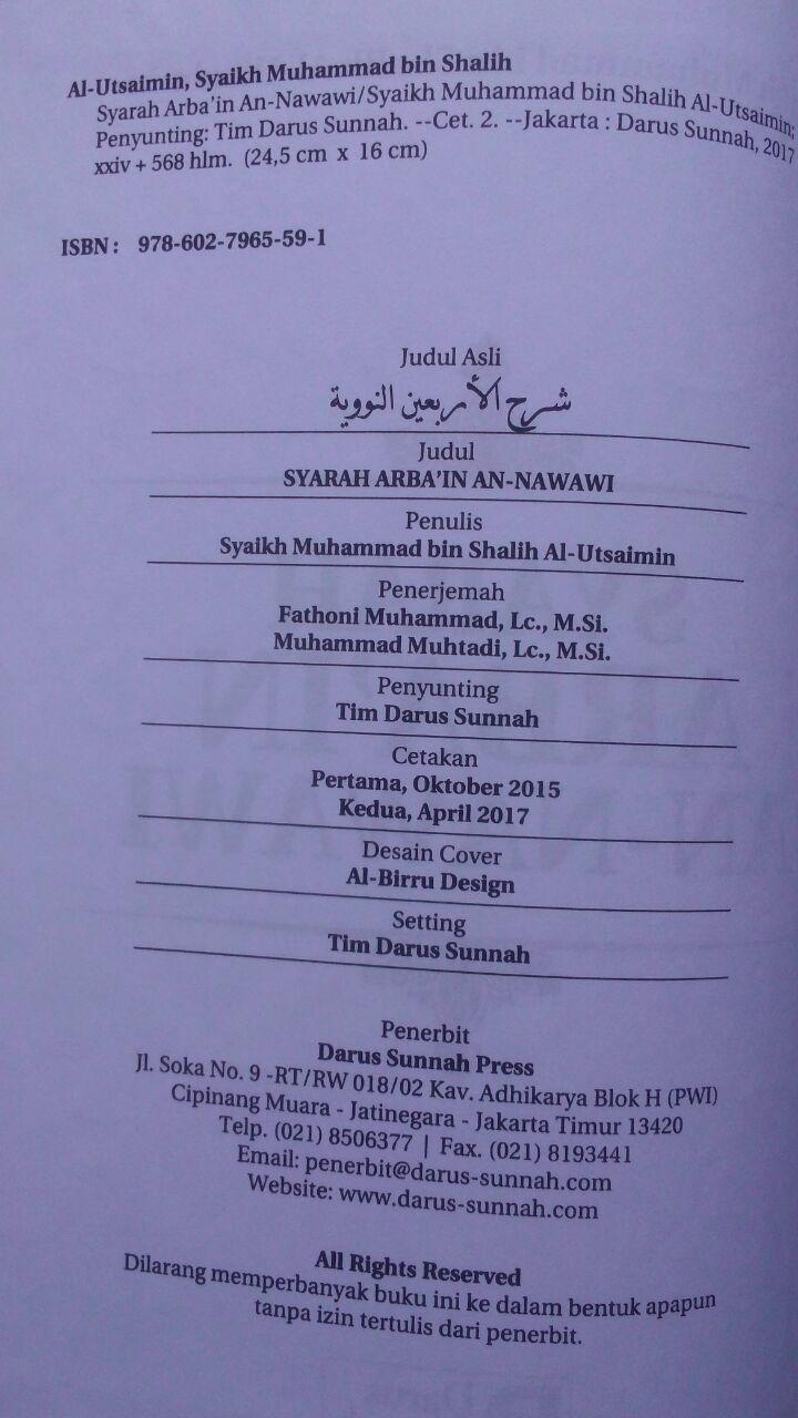 Buku Syarah Arbain An-Nawawi Penjelasan Hadits Pokok 90.000 20% 72.000 Darus Sunnah Muhammad bin Shalih Al-Utsaimin isi