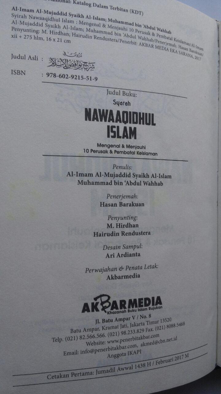 Buku Syarah Nawaaqidhul Islam 10 Perusak Pembatal Keislaman 80.000 20% 64.000 Akbar Media Muhammad bin Abdul Wahhab isi