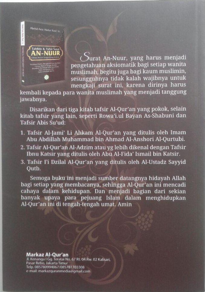 Buku Tahfidz Dan Tafsir Surat An-Nuur Cahaya Rumah Tangga 50.000 20% 40.000 Markaz Al-Quran Abdul Aziz Abdur Rauf cover