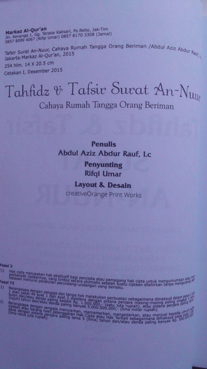 Buku Tahfidz Dan Tafsir Surat An-Nuur Cahaya Rumah Tangga 50.000 20% 40.000 Markaz Al-Quran Abdul Aziz Abdur Rauf isi