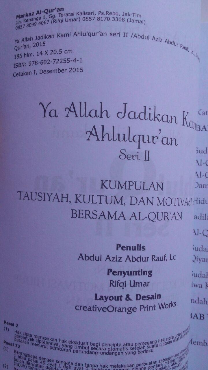 Buku Ya Allah Jadikan Kami Ahlus Quran Kumpulan Motivasi 50.000 20% 40.000 Markaz Al-Quran Abdul Aziz Abdur Rauf isi 4