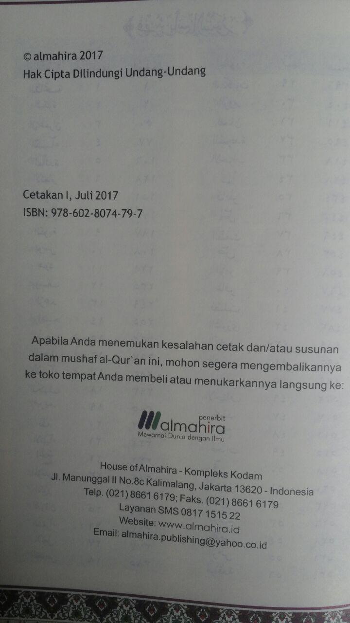 AQ156 Qur'an Hafalan Dan Terjemahan Ukuran A5 75.000 15% 63.750 Almahira isi