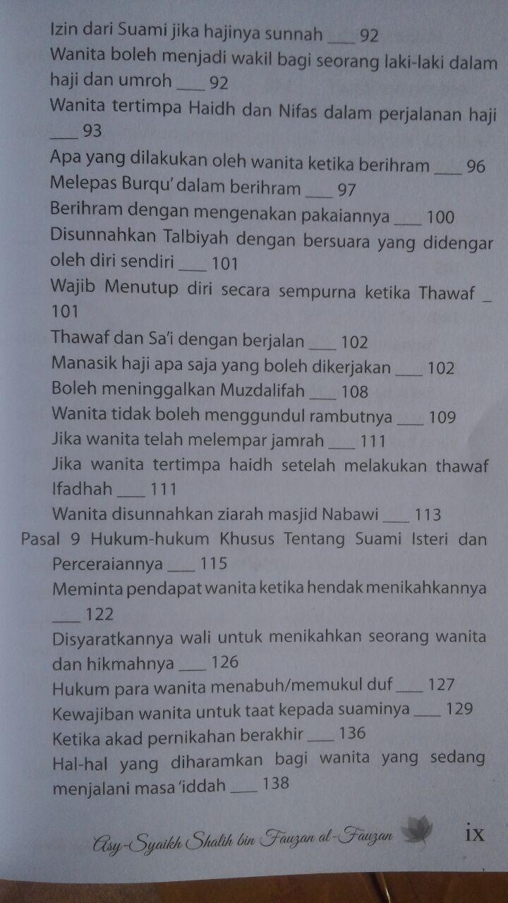 BK2966 Buku Hanya Untuk Wanita Bimbingan Fikih Praktis Bagi Wanita 35.000 15% 29.750 Al-Haura Shalih bin Abdillah bin Fauzan Al Fauzan isi