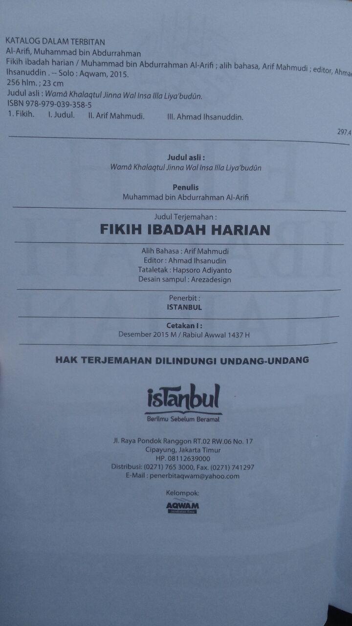 BK2970 Buku Fikih Ibadah Harian Pembahasan Lengkap Ibadah 89.000 20% 71.200 Istanbul Muhammad Al-Arifi isi 2
