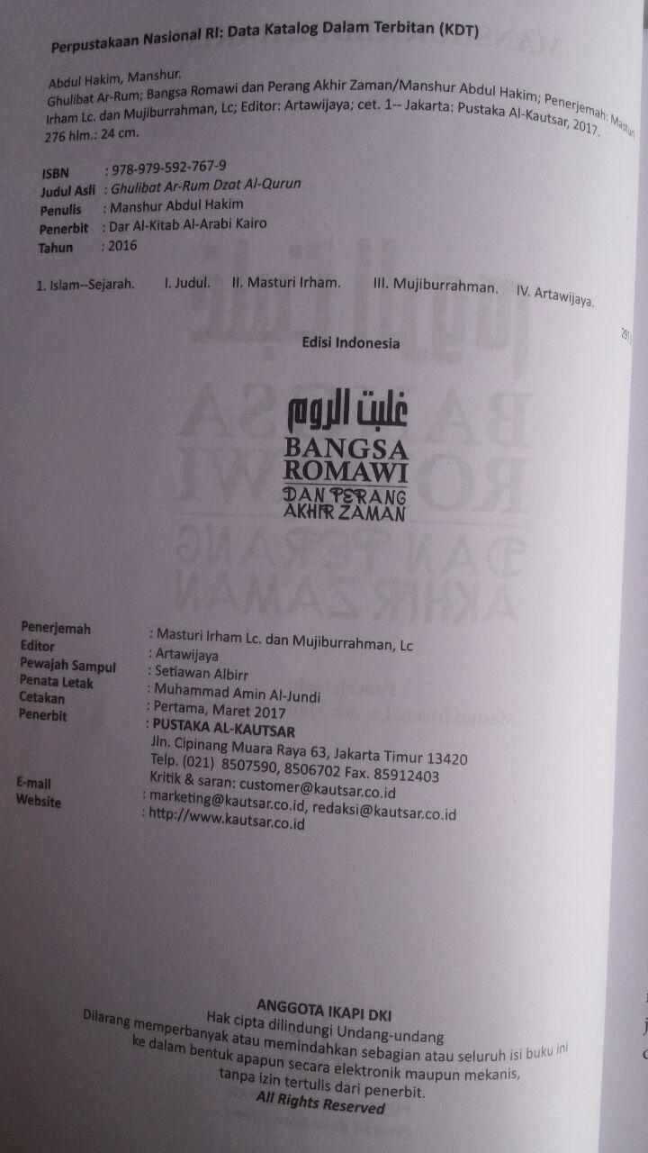 Buku Bangsa Romawi Dan Perang Akhir Zaman 58.000 20% 46.400 Pustaka Al-Kautsar Manshur Abdul Hakim isi 2