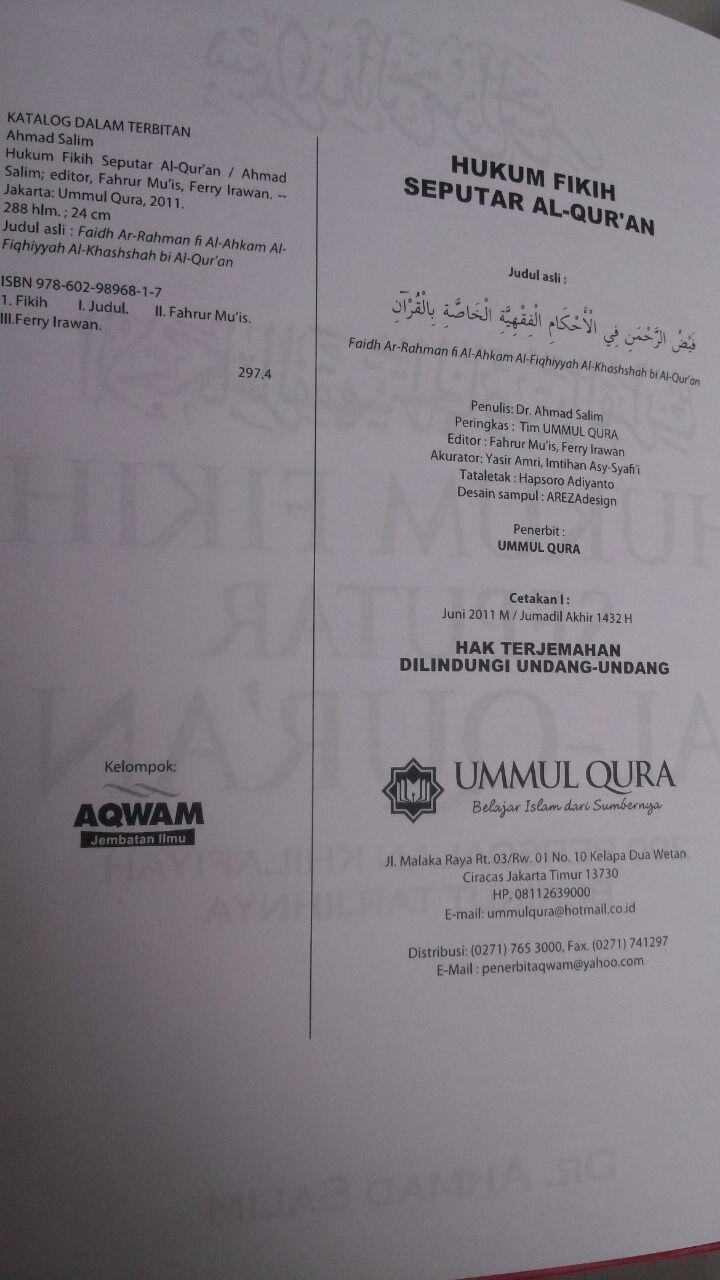 Buku Hukum Fikih Seputar Al-Qur'an 200 Persoalan Khilafiyah 59.000 20% 47.200 Ummul Qura Ahmad Salim isi 2