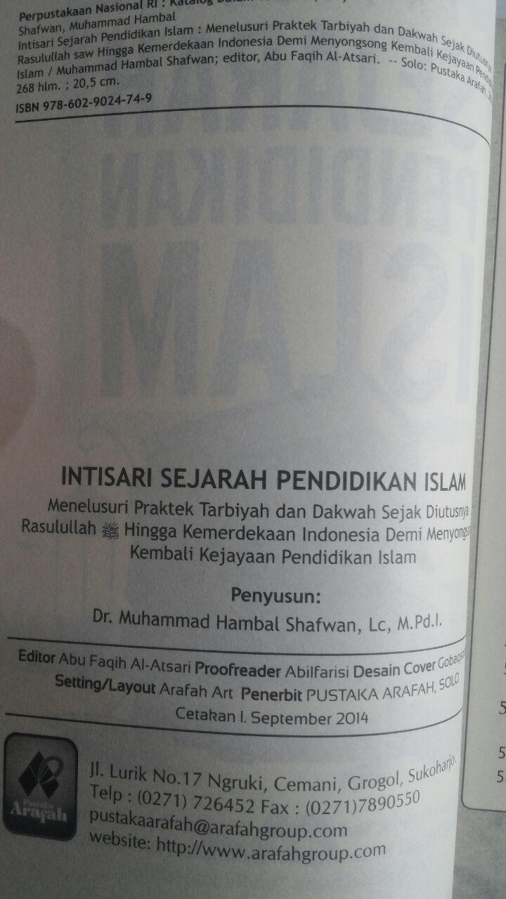 Buku Intisari Sejarah Pendidikan Islam 42.000 15% 35.700 Pustaka Arafah Muhammad Hambal Shafwan isi