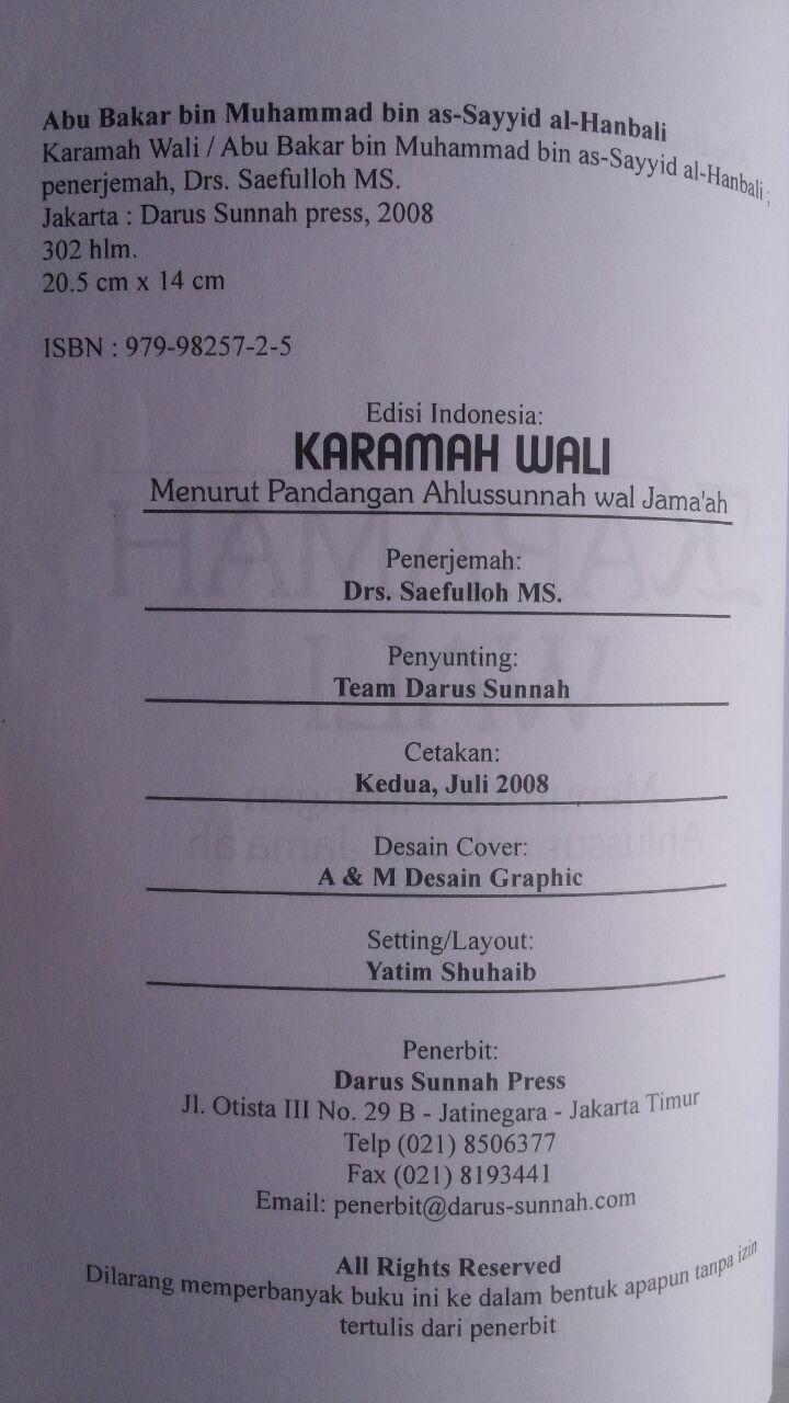 Buku Karamah Wali Menurut Pandangan Ahlussunnah Wal Jamaah 34,000 15% 28,900 Darus Sunnah isi