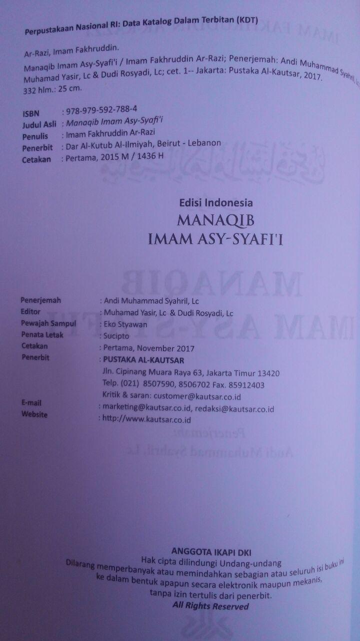 Buku Manaqib Imam As-Syafi'i 72.000 20% 57.600 Pustaka Al-Kautsar Imam Fakhruddin Ar-Razi isi