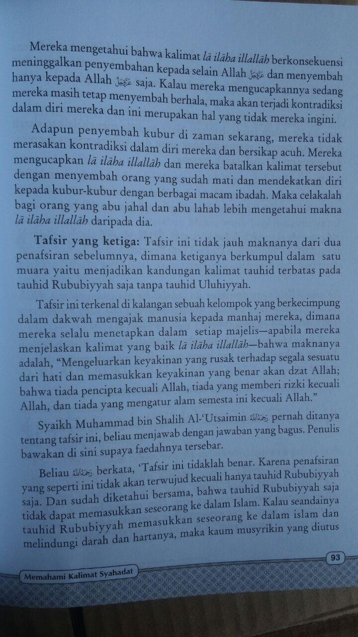 Buku Memahami Kalimat Syahadat Menurut Aqidah Ahlussunnah 99.000 20% 79.200 Khazanah Fawaid Yazid bin Abdul Qadir Jawas isi 2