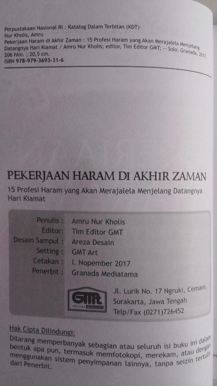 Buku Pekerjaan Haram Di Akhir Zaman 15 Profesi Haram 42,000 15% 35,700 Granada Mediatama isi