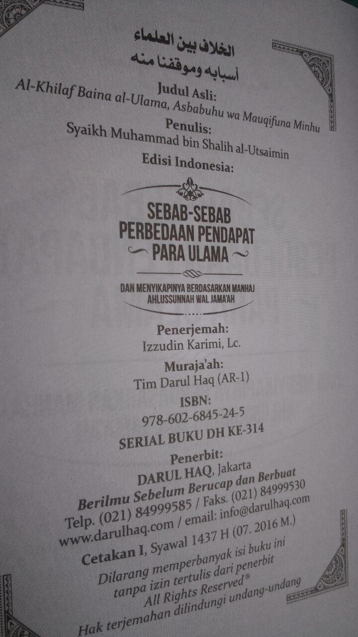 Buku Saku Sebab-Sebab Perbedaan Pendapat Para Ulama 7.000 15% 5.950 Darul Haq Muhammad bin Shalih Al-Utsaimin isi
