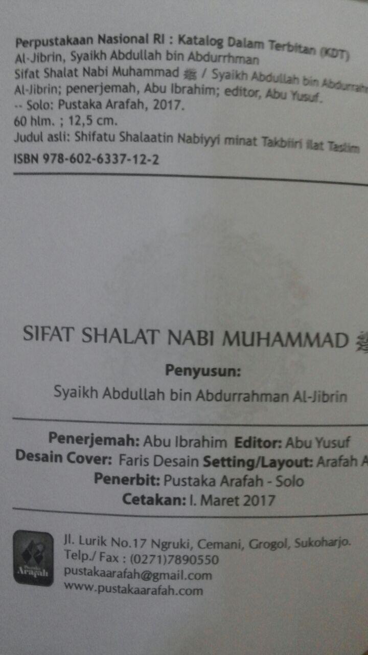 Buku Saku Sifat Shalat Nabi Muhammad Plus Dzikir Bergambar 5.000 15% 4.250 Pustaka Arafah Abdullah bin Abdurrahman Al Jibrin isi