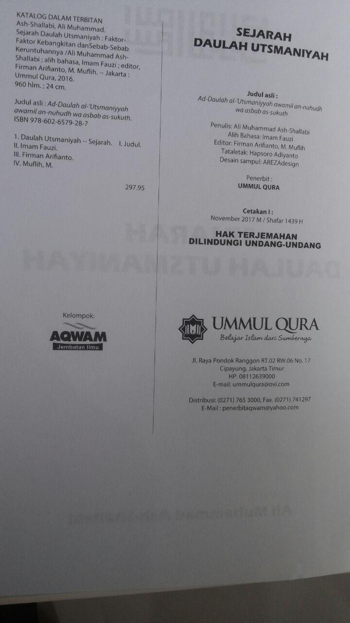 Buku Sejarah Daulah Utsmaniyah Faktor Kebangkitan Keruntuhan 179.000 20% 143.200 Ummul Qura Ali Muhammad Ash-Shallabi isi