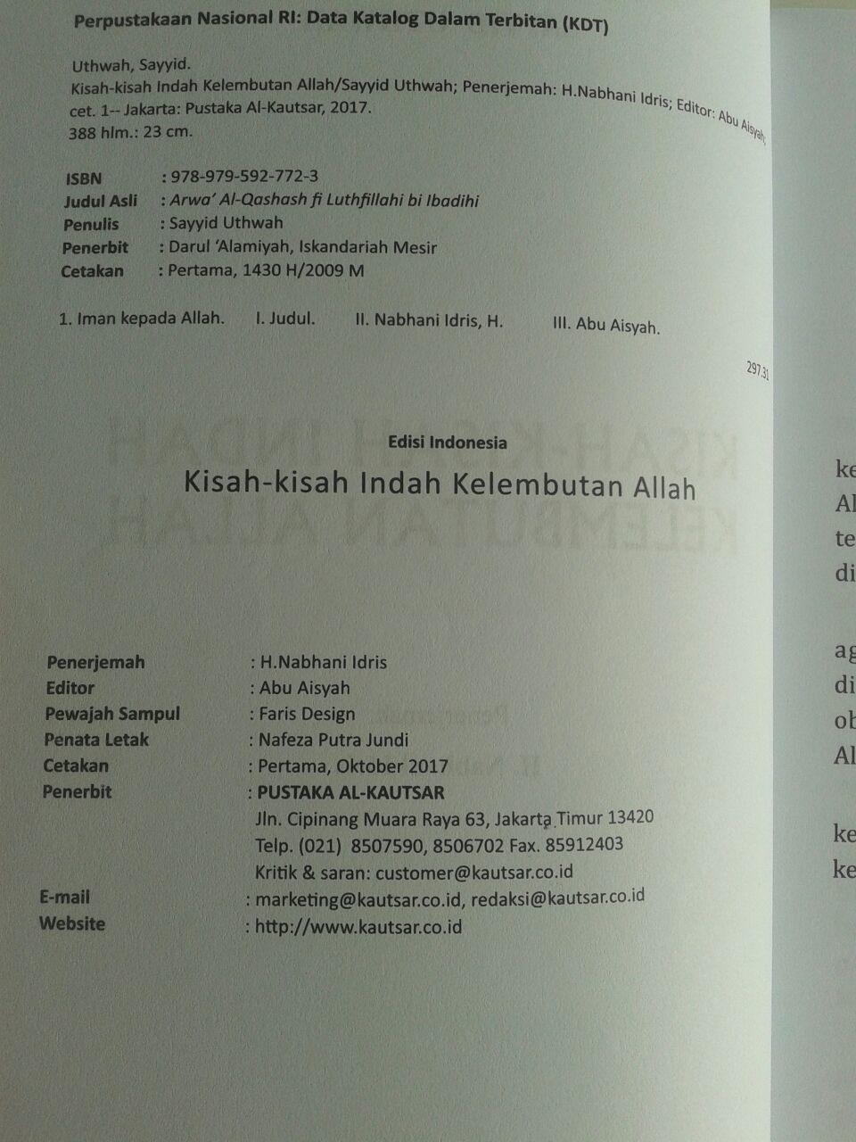 Buku Kisah-Kisah Indah Kelembutan Allah Pustaka Al-Kautsar Sayyid Uthwah isi