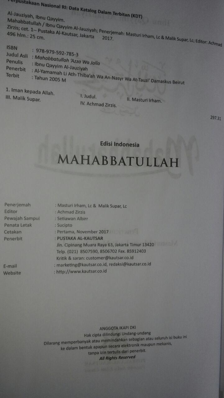 Buku Mahabbatullah Cinta Kepada Allah 110.000 20% 88.000 Pustaka Al-Kautsar Ibnu Qayyim Al-Jauziyyah isi 2