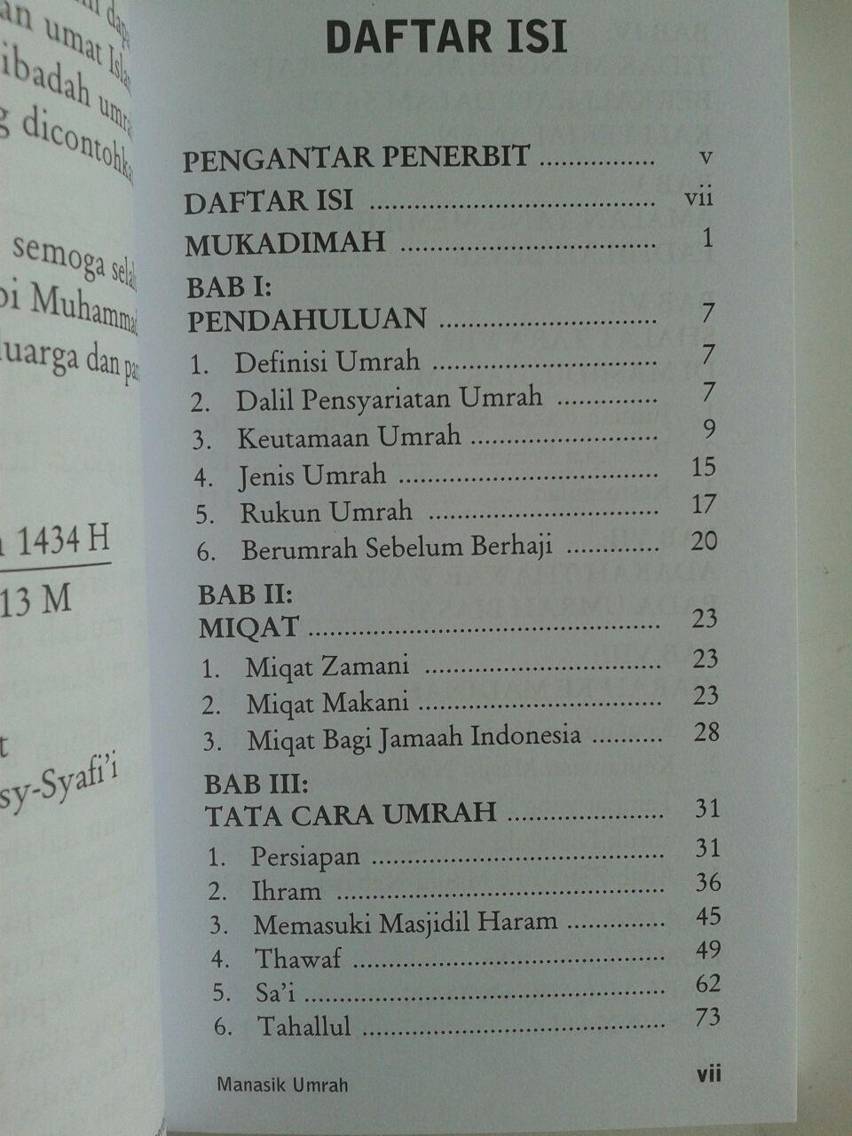 Buku Manasik Umrah Dan Doa Menurut Al-Quran Dan As-Sunnah isi