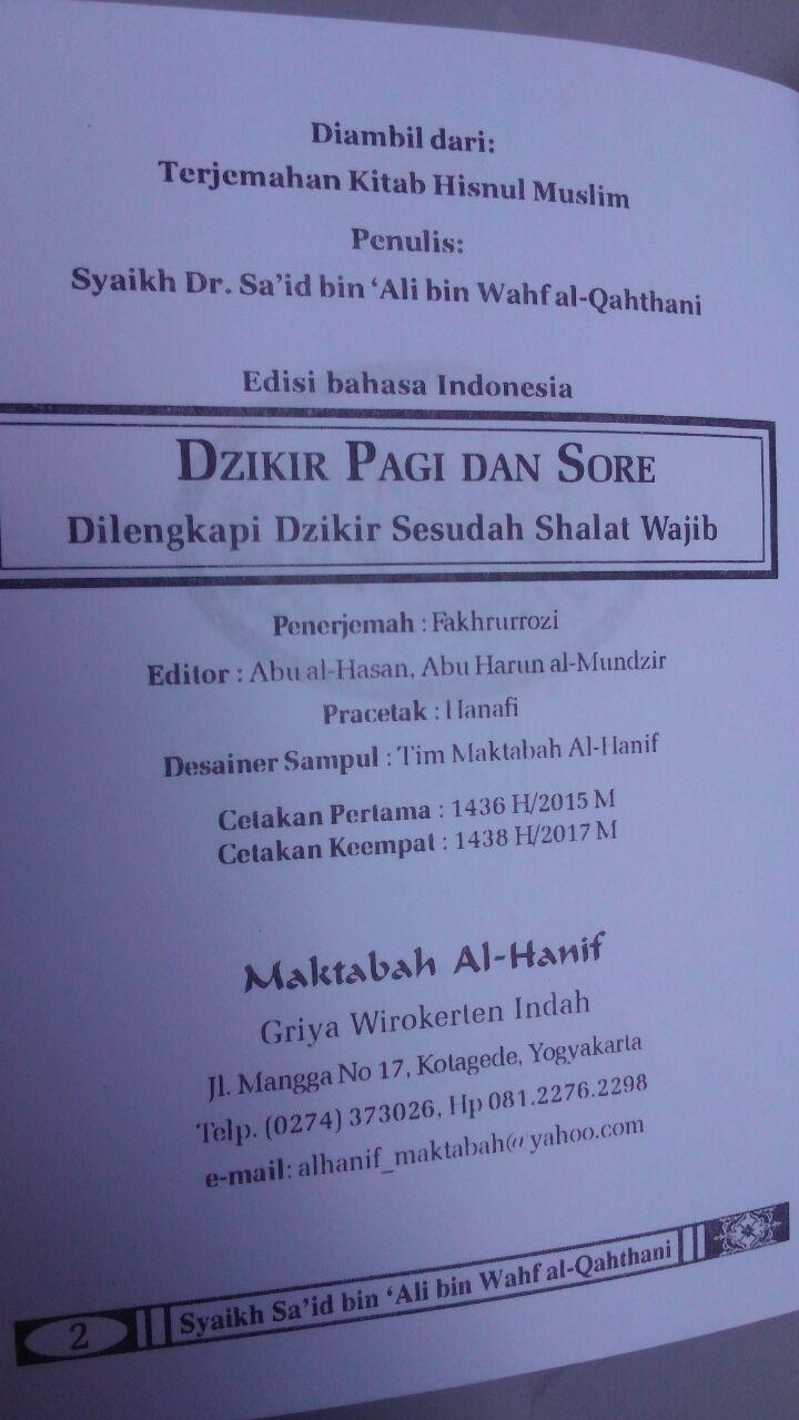 Buku Saku Shahih Al-Ma'tsurat Dzikir Pagi Dan Sore 6.000 15% 5.100 Maktabah Al-Hanif Sa'id bin Ali bin Wahf AL-Qahthani isi