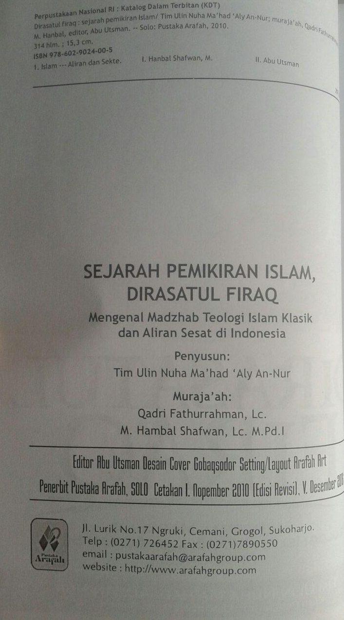 Buku Dirasatul Firaq Mengenal Madzhab Teologi Islam Klasik isi 3