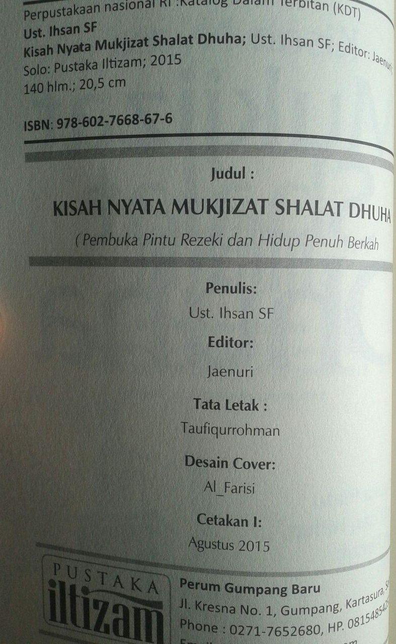 Buku Kisah Nyata Mukjizat Shalat Dhuha Pembuka Pintu Rezeki isi 2