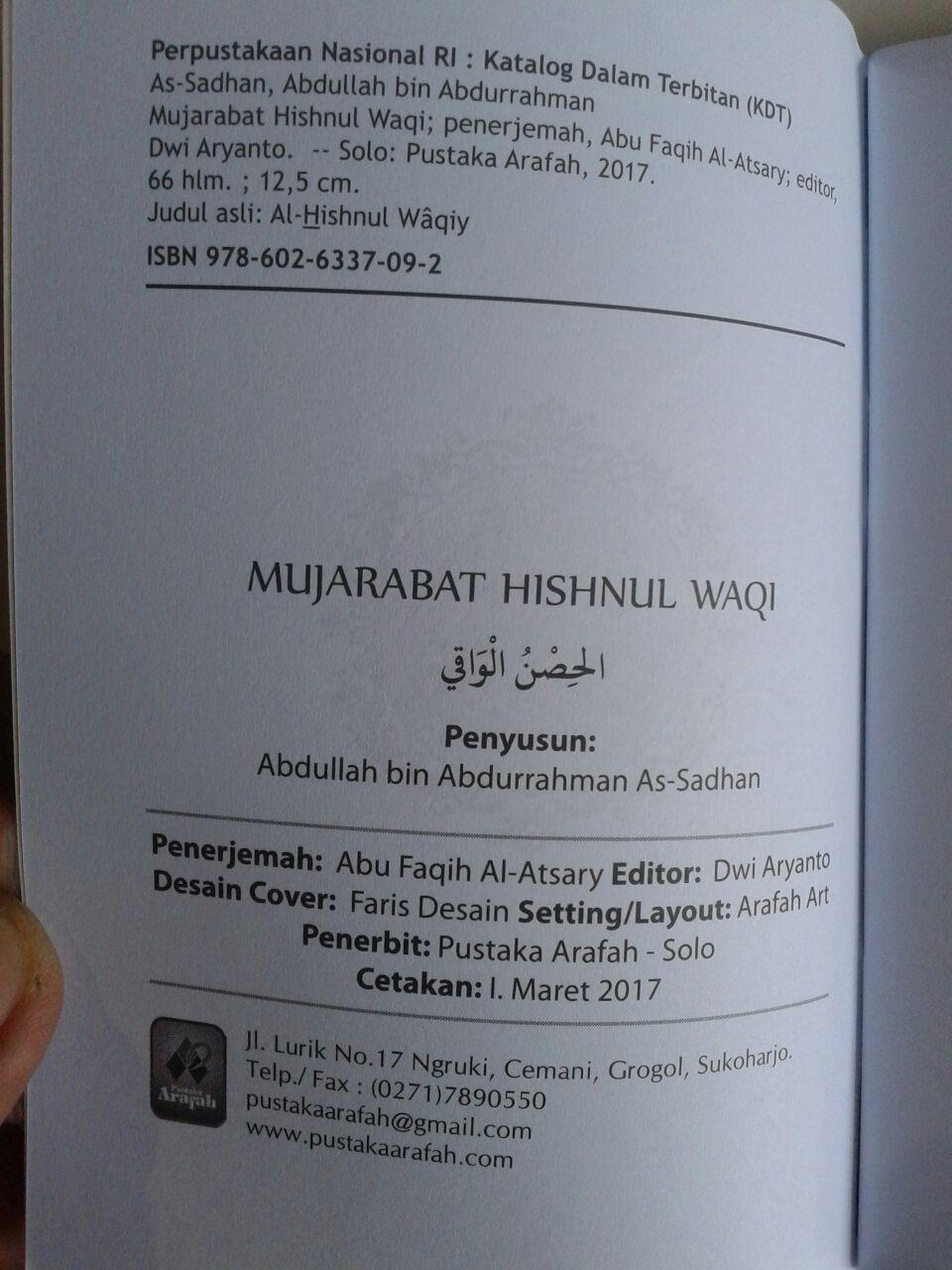 Buku Saku Mujarabat Hisnul Waqi Doa Dzikir Dari Keburukan isi