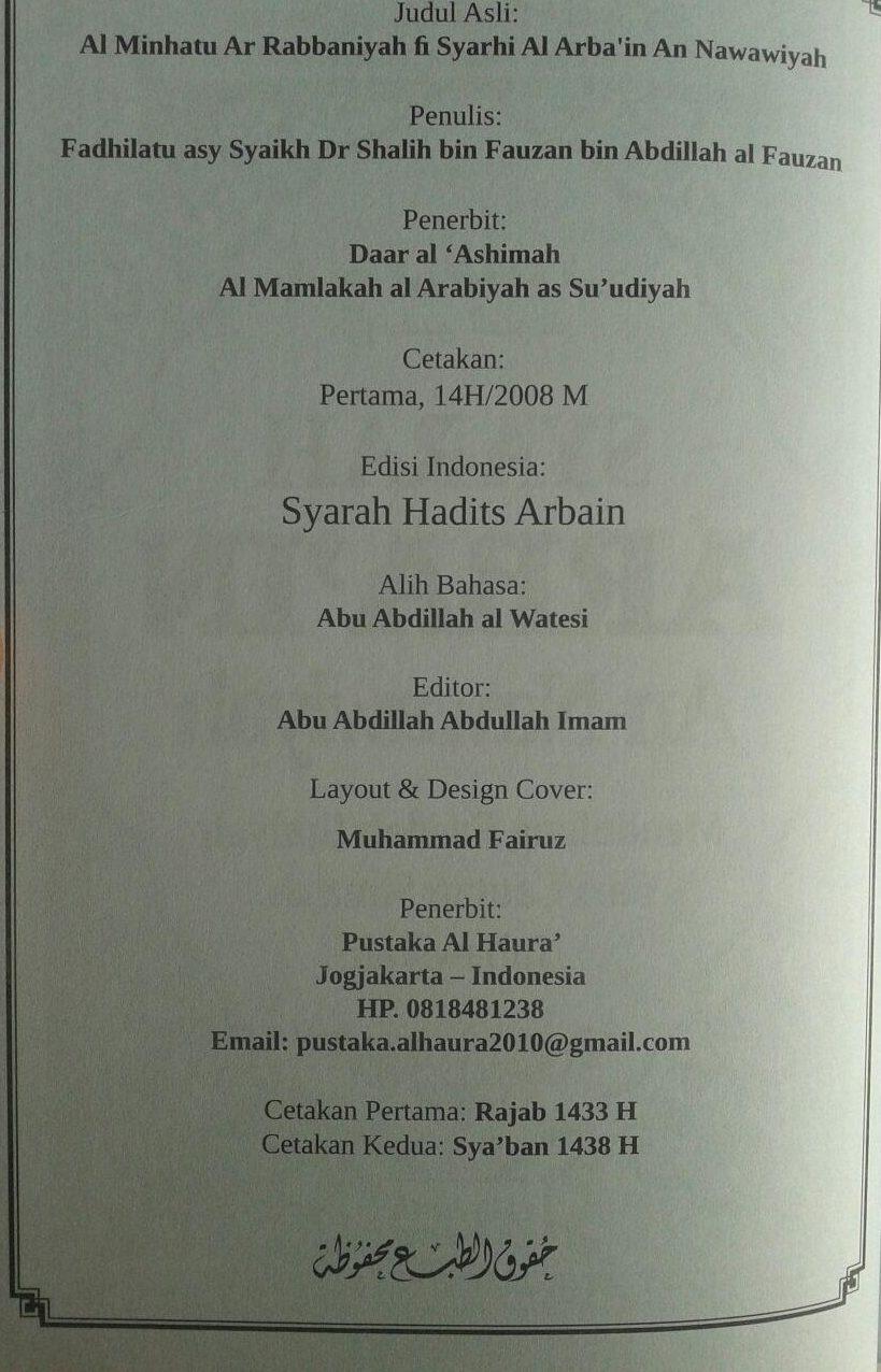 Buku Syarah Arbain An-Nawawiyah Mendulang Faedah Ilmiyah isi 3