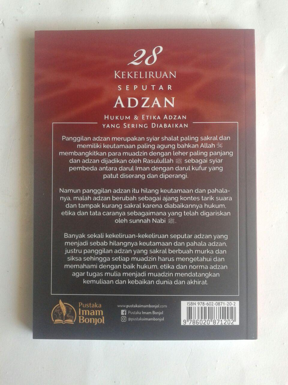 Buku 28 Kekeliruan Seputar Adzan Hukum Dan Etika Adzan cover