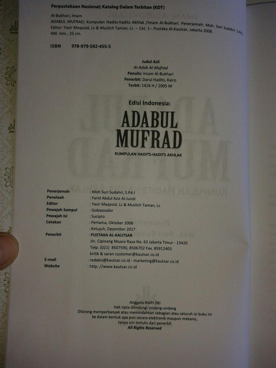 Buku Adabul Mufrad Kumpulan Hadits-Hadits Akhlak isi 2