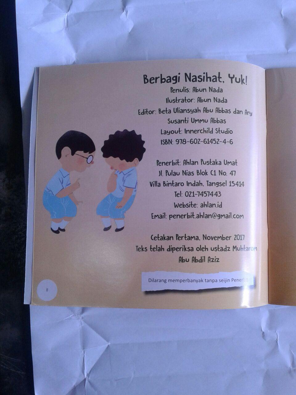 Buku Anak Berbagi Nasihat Yuk isi