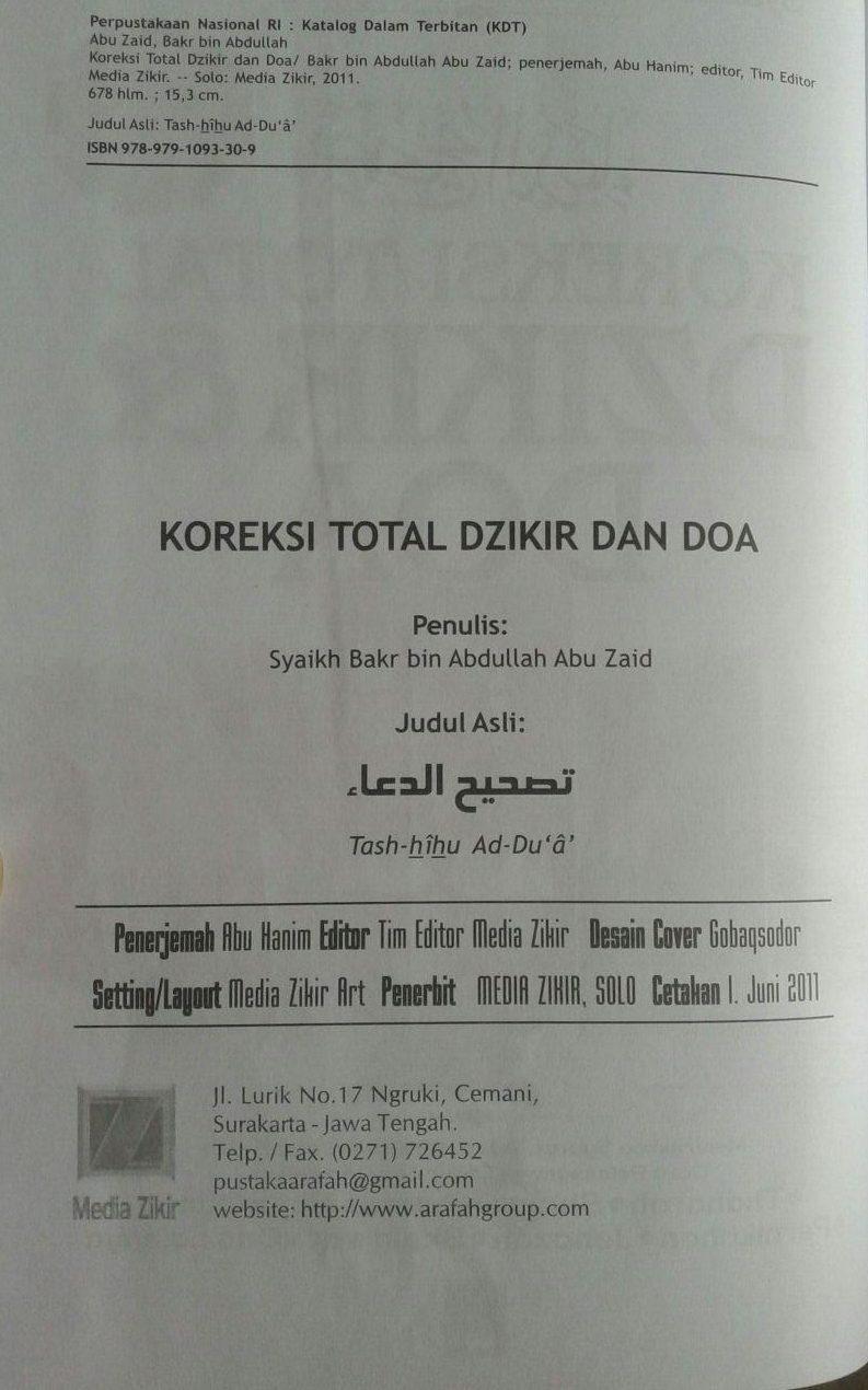 Buku Koreksi Total Dzikir Dan Doa 700 Koreksi Dalam Dzikir Doa isi 3