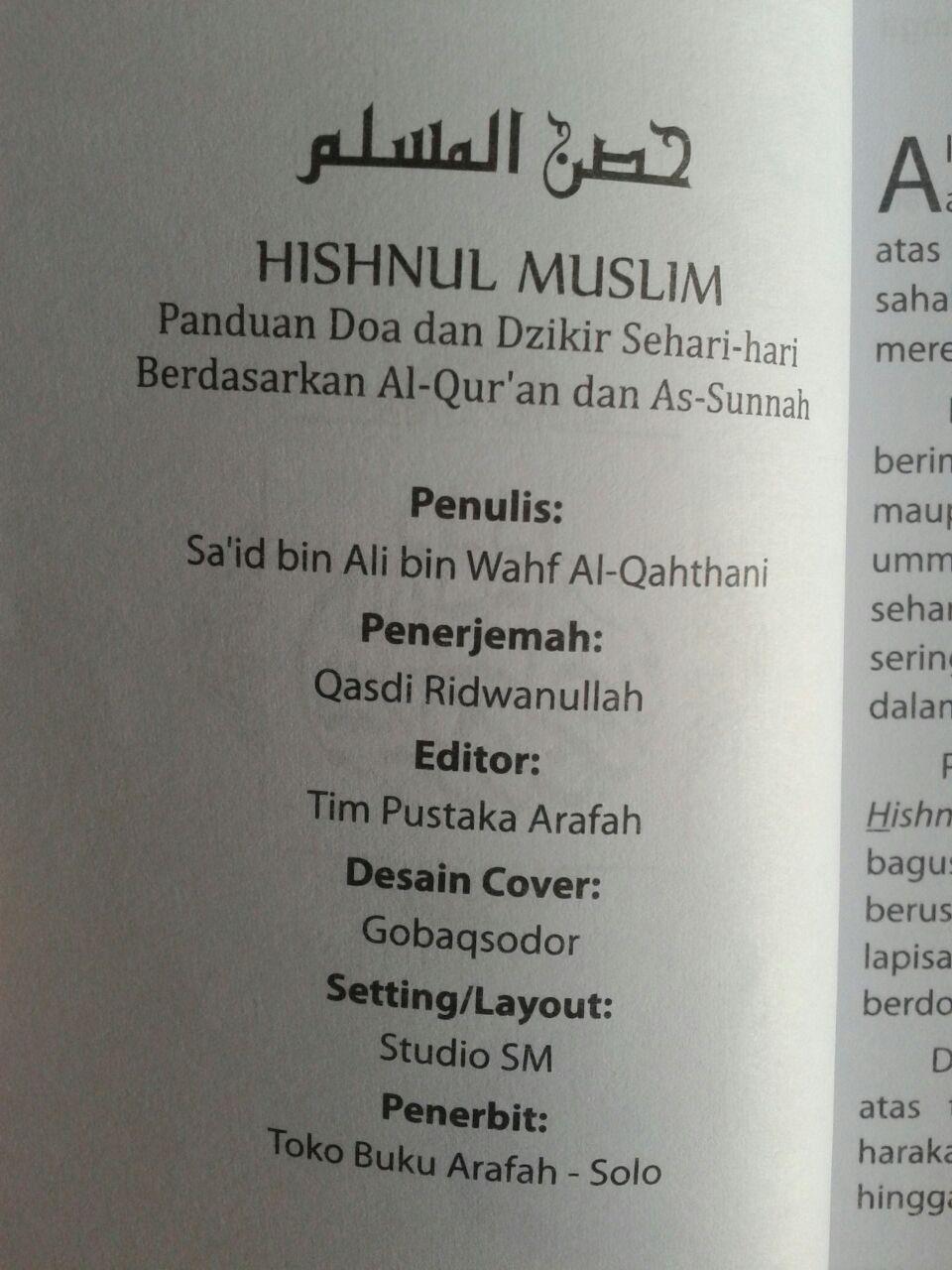 Buku Saku Hishnul Muslim Panduan Doa Dan Dzikir Sehari Hari isi 3