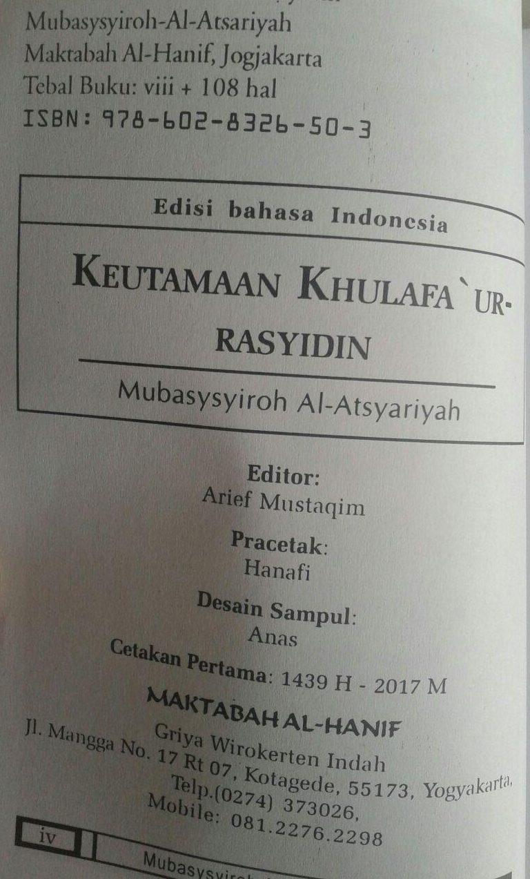 Buku Saku Keutamaan Khulafaur Rasyidin Dan Umar bin Abdul Aziz isi