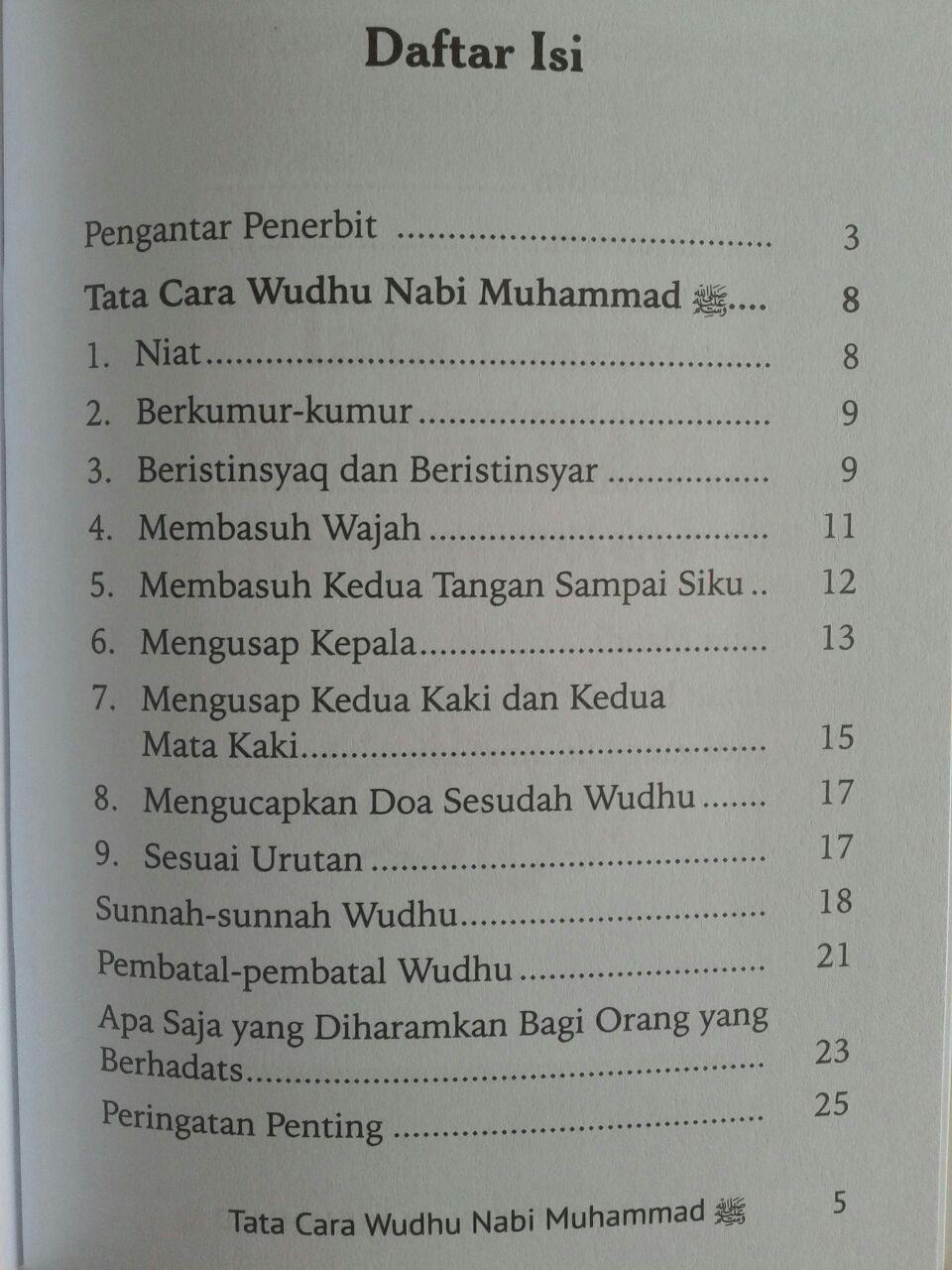 Buku Saku Tata Cara Wudhu Nabi Dilengkapi Mandi Janabah Tayamum isi
