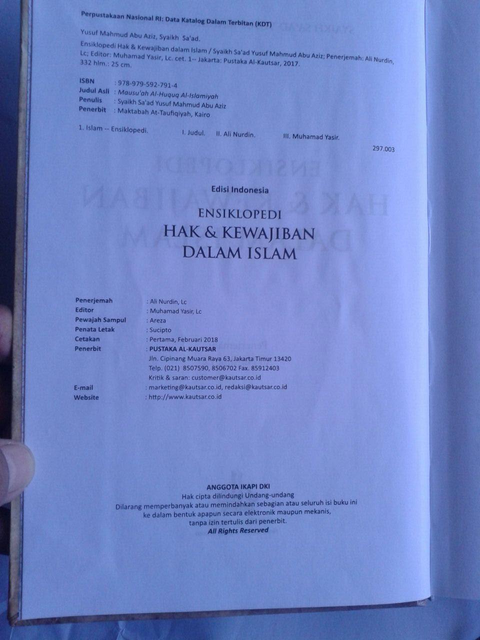 Buku Ensiklopedi Hak Dan Kewajiban Dalam Islam isi