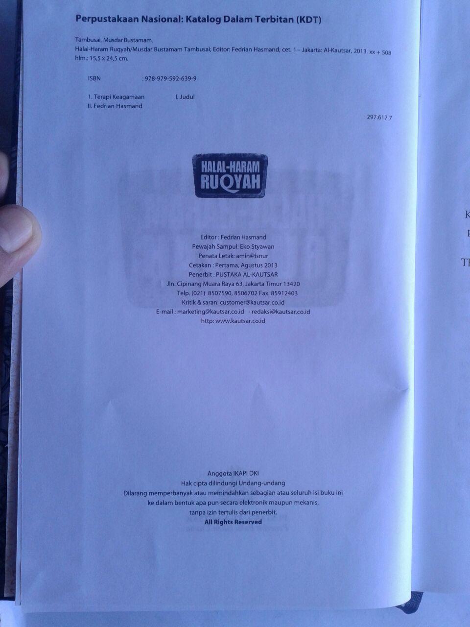 Buku Halal Haram Ruqyah Tuntunan Syariah Mengatasi Sihir isi 2