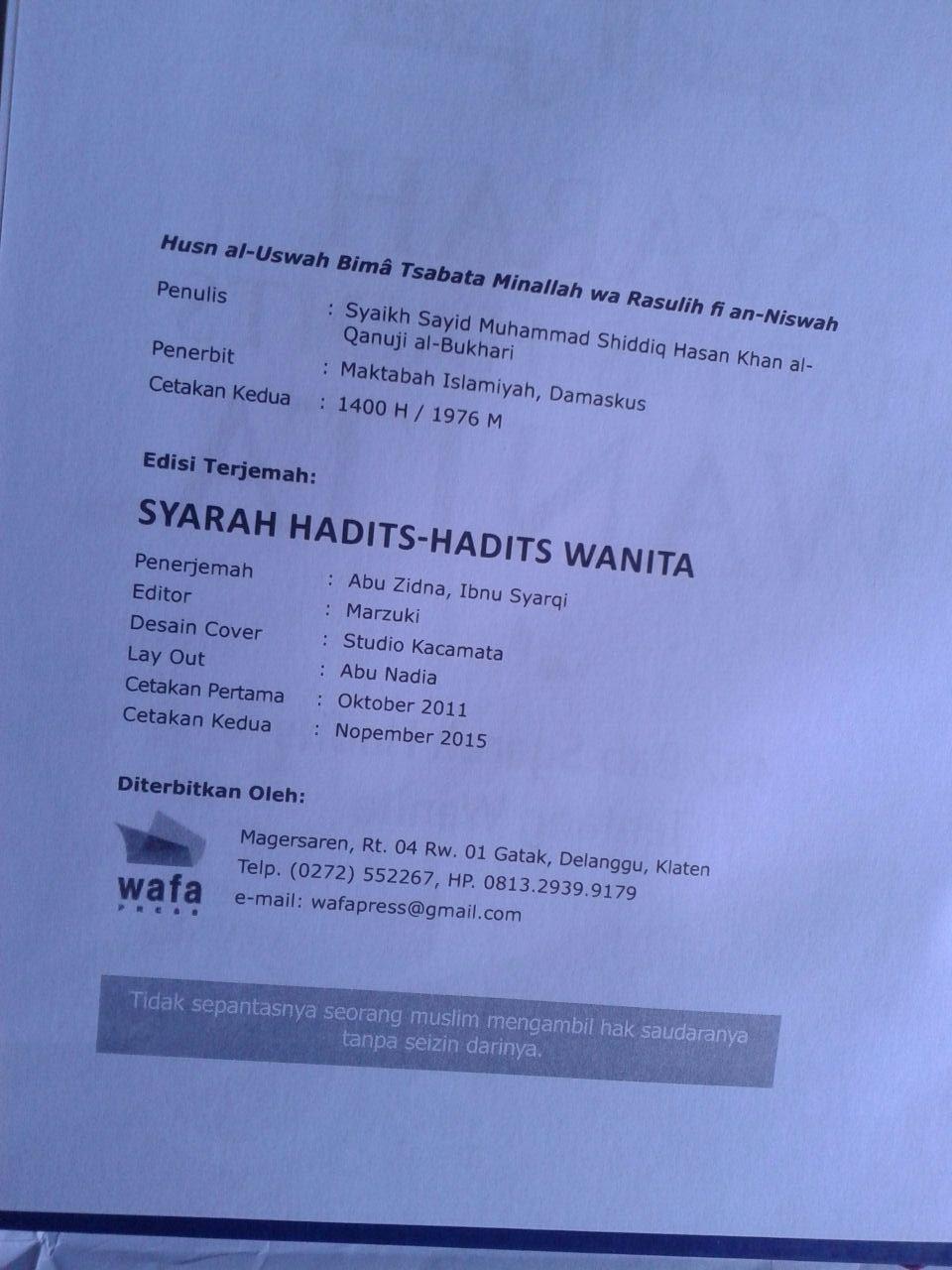 Buku Husnul Uswah Syarah Hadits-Hadits Wanita isi 4