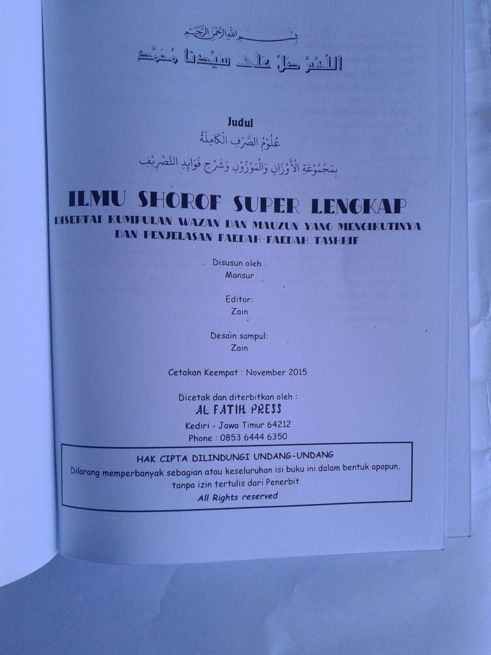 Buku Ilmu Shorof Super Lengkap Plus Faedah Tashrif isi 3