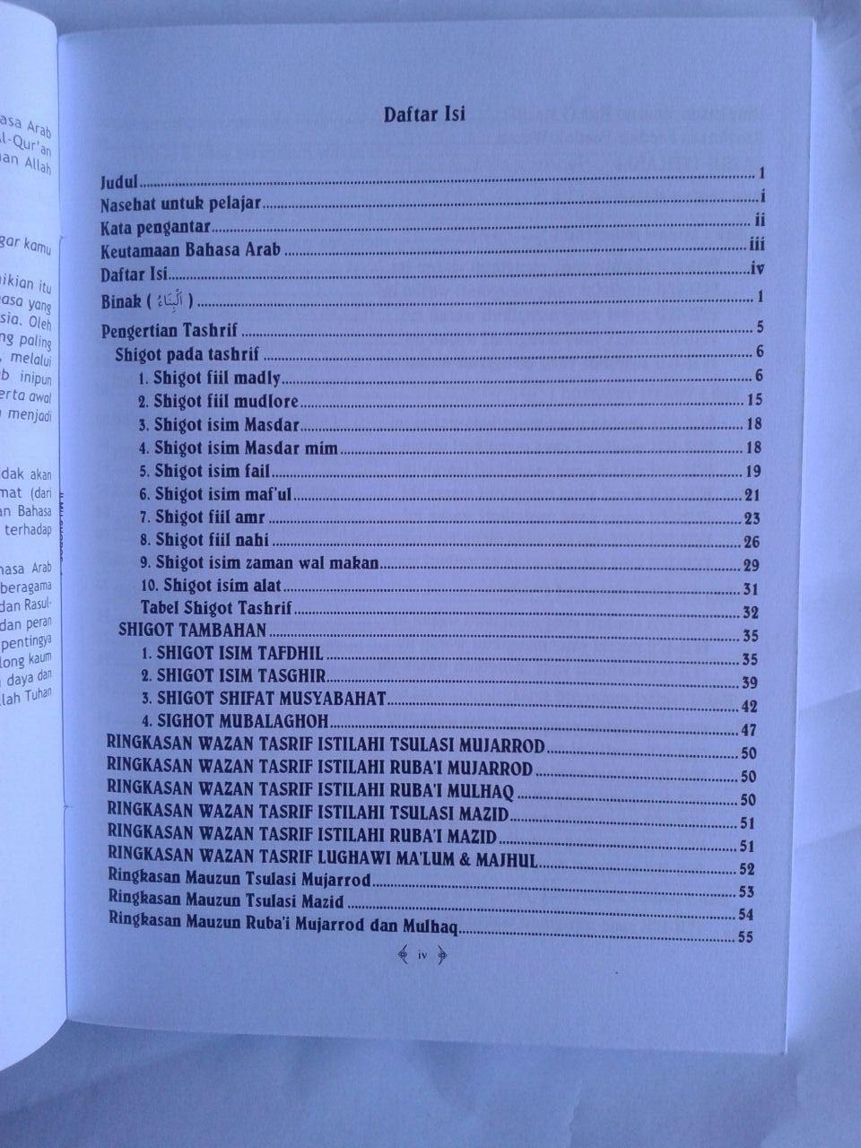 Buku Ilmu Shorof Super Lengkap Plus Faedah Tashrif isi