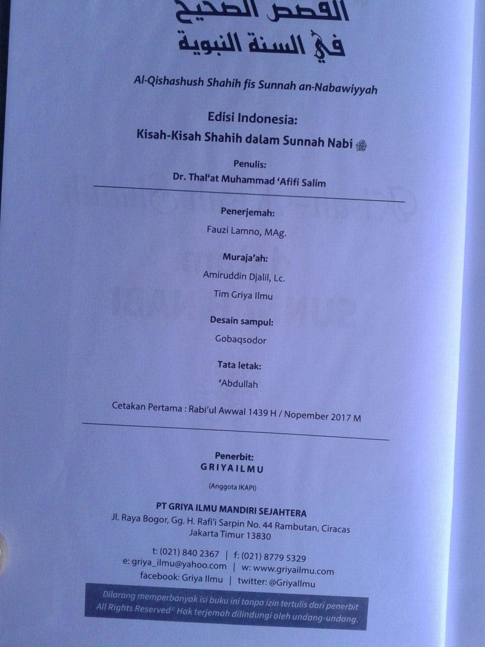 Buku Kisah-Kisah Shahih Dalam Sunnah Nabi isi