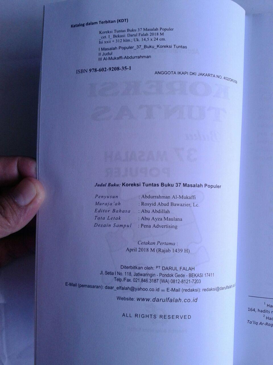 Buku Koreksi Tuntas Buku 37 Masalah Populer isi