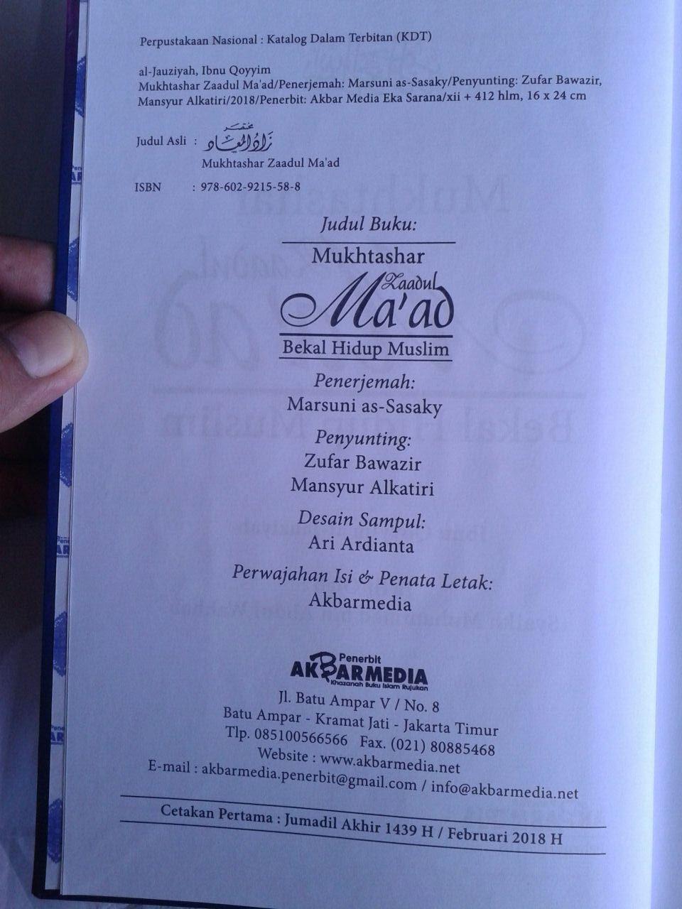 Buku Mukhtashar Zaadul Maad Bekal Hidup Muslim isi 3