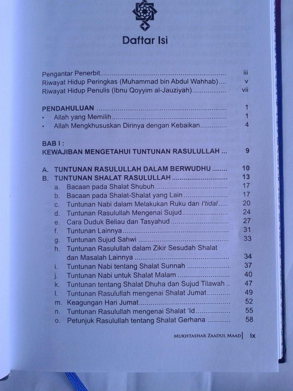 Buku Mukhtashar Zaadul Maad Bekal Hidup Muslim isi