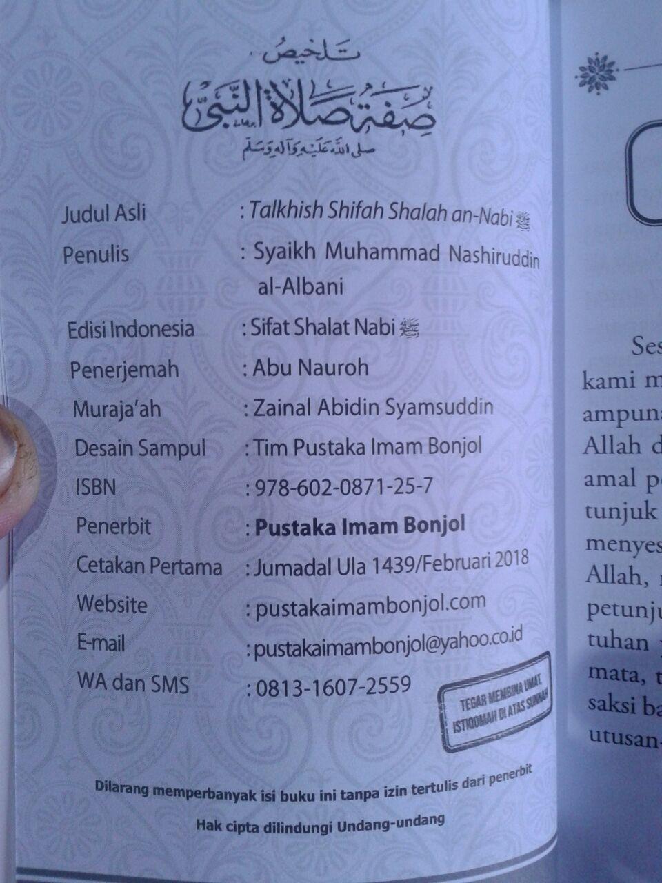 Buku Ringkasan Sifat Shalat Nabi Syaikh Al-Albani isi 3