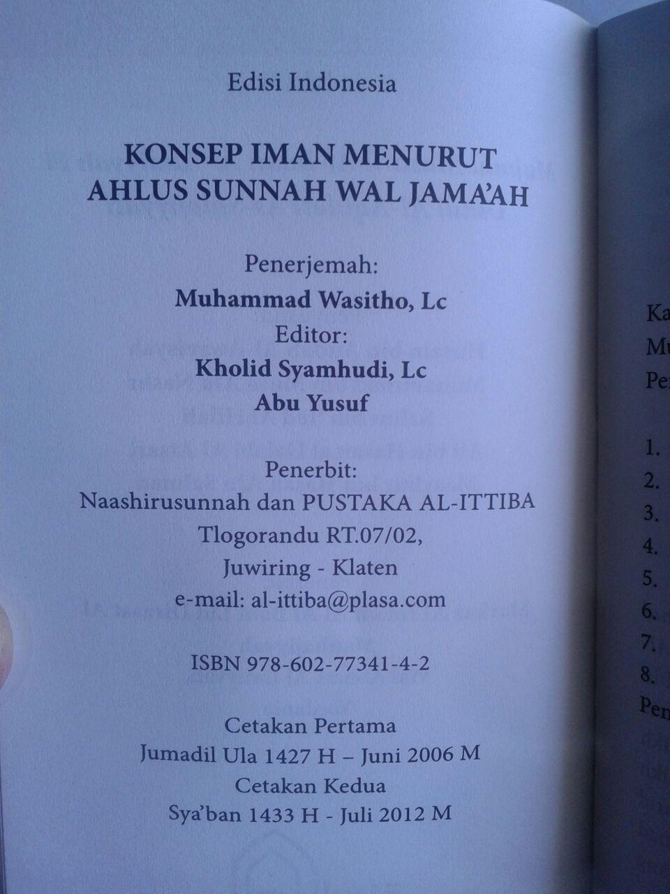 Buku Saku Konsep Iman Menurut Ahlus Sunnah Wal Jama'ah isi 3