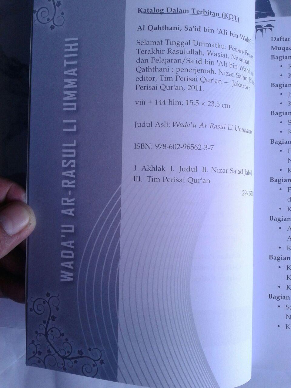 Buku Selamat Tinggal Umatku Pesan Pesan Terakhir Rasulullah isi 3