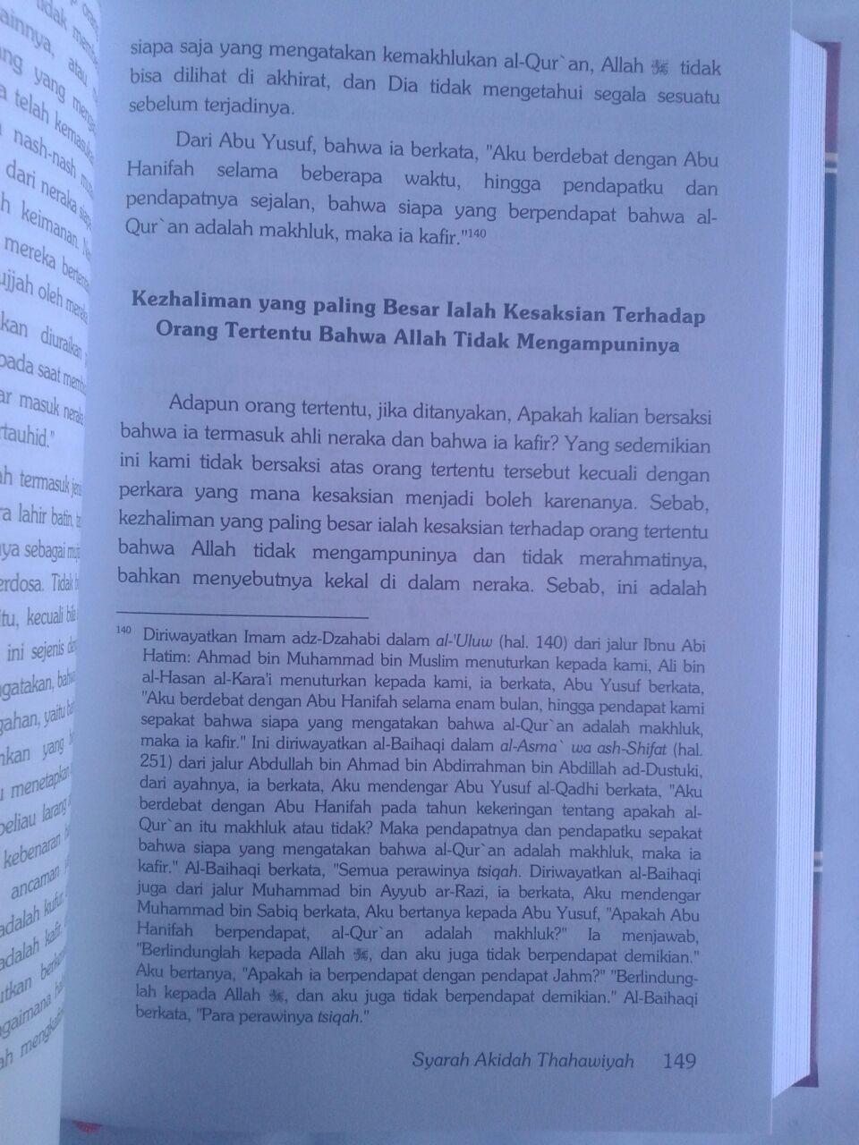 Buku Syarah Akidah Thahawiyah Akidah Ahlussunnah isi 3