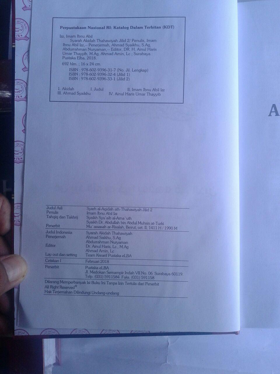 Buku Syarah Akidah Thahawiyah Akidah Ahlussunnah isi