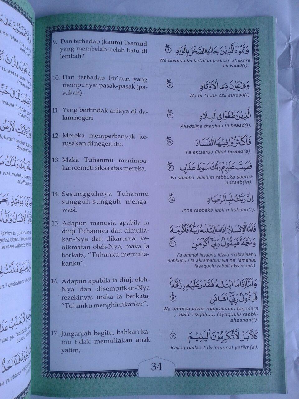 Buku Terjemah Juz Amma Disertai Lafal Transliterasi Ukuran A4 isi