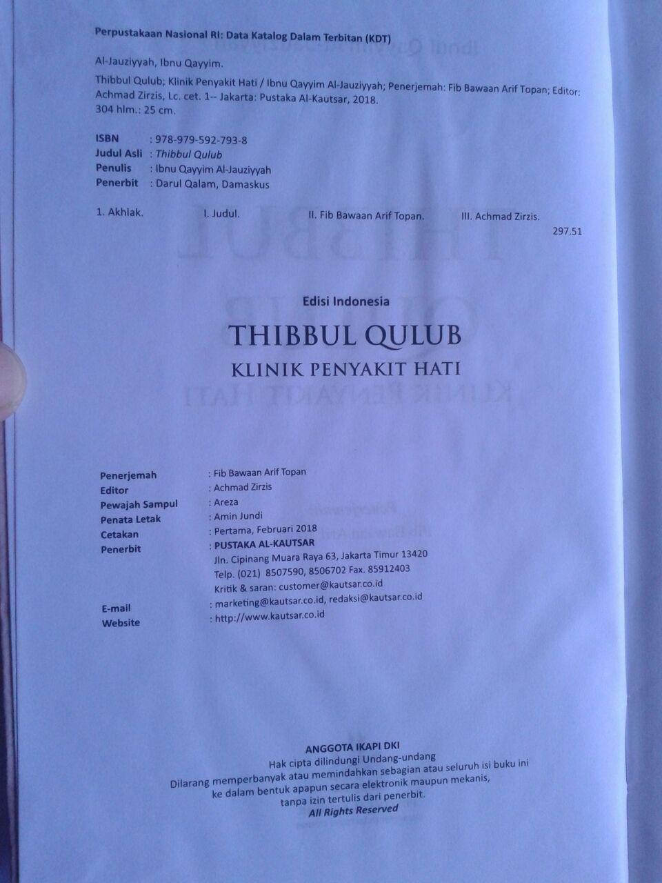 Buku Thibbul Qulub Klinik Penyakit Hati isi
